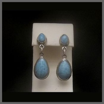Heavy 2 Stone Paddle Style Larimar Post Earrings